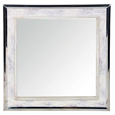 Blanco Envejecido Cuadrado de Pared Casa Chic Baño Rústico Retro Espejo 40x40cm