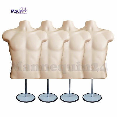 4 Male Torso Mannequin Forms Flesh W 4 Stands 4 Hanging Hooks Men Clothings