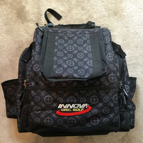 Innova Super Hero Backpack Bag Black Pattern Golf Disc USED Great Condition