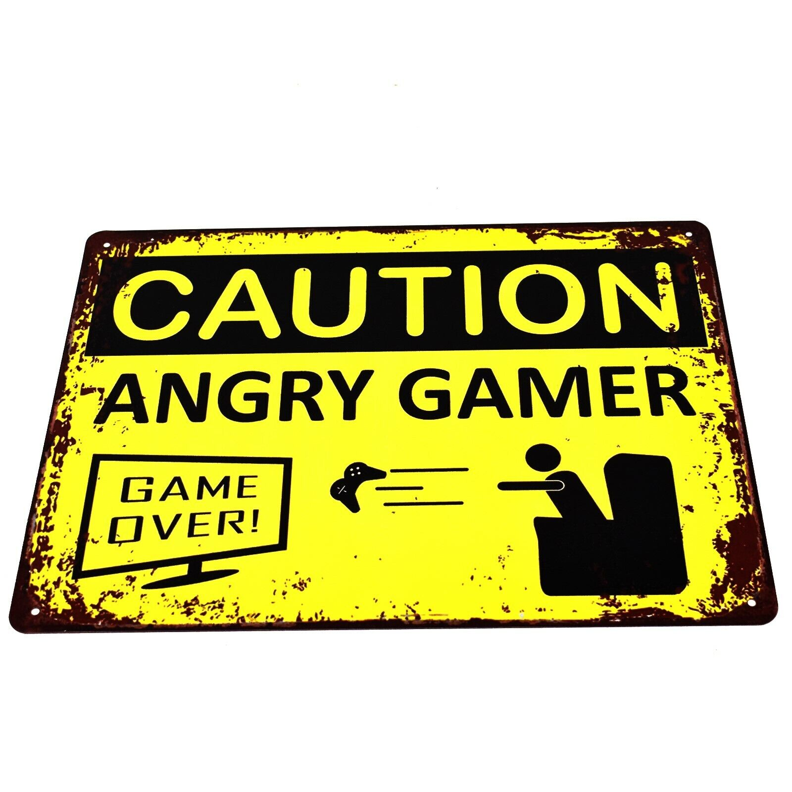 VINTAGE ADVERTISING ENAMEL METAL TIN SIGN WALL PLAQUE Warning Angry Gamer