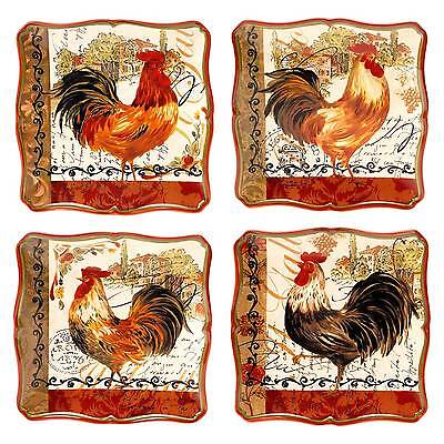 Certified International Tuscan Rooster Dessert Plate Set of 4 (8.5