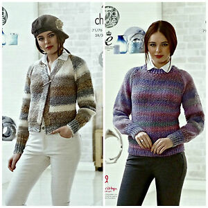 KNITTING PATTERN Ladies Easy Knit Cardigan & Jumper Chunky King Cole 4633