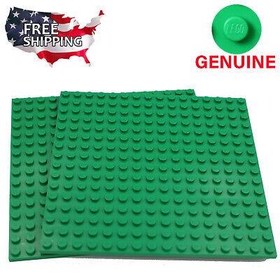 x2 Lego Green Baseplates Base Plates Brick Building 16 x 16 Dots Green