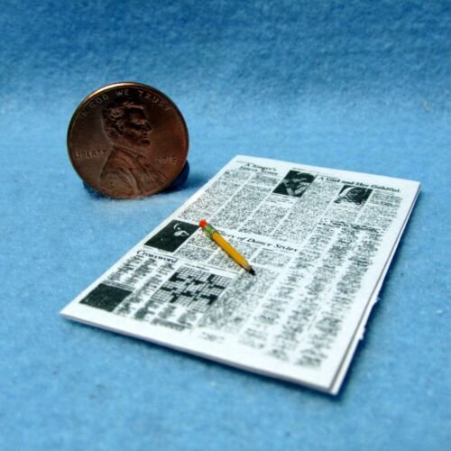 Dollhouse Miniature Newspaper with Crossword Puzzle and Pencil  IM65119