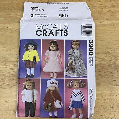 """McCalls 3900, 18"""" Doll Outfits, Dress, Coat, Nightgown, Cardigan, Cheer Pattern"""
