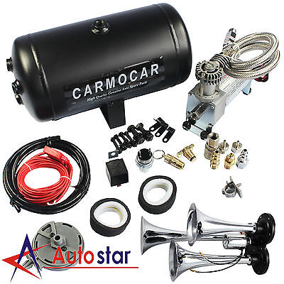 Loud Triple Trumpet Air Horn Kit With 98c 1 Gallon Best Buy For Car Truck RV