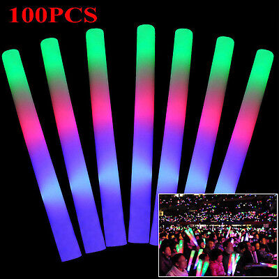 100 PCS Light Up LED Foam Sticks Glow Wands Rally Rave Batons Flashing Party - Led Glowstick