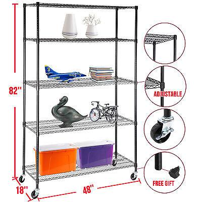 82x48x18 Heavy Duty 5 Tier Adjustable Layer Wire Shelving Rack Steel Shelf