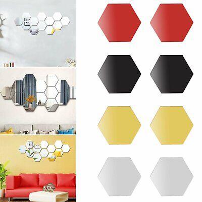 12pcs 3D Hexagon Acrylic Mirror Wall Stickers Home Room DIY Art Removable Decor Decals, Stickers & Vinyl Art