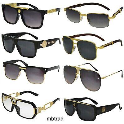 Men's Hip Hop Vintage Black Gold Frame Clear Lens Wood (Black Framed Glasses For Men)