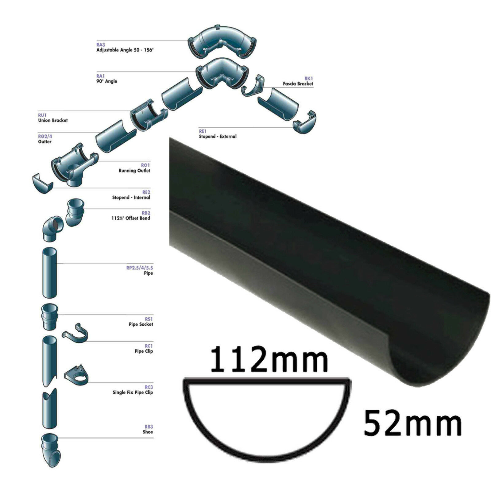 Black Half Round Guttering And Downpipes And Fittings