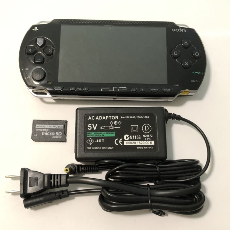 BLACK Sony PSP 1000 System w/ Charger & Memory Card Bundle TESTED Import