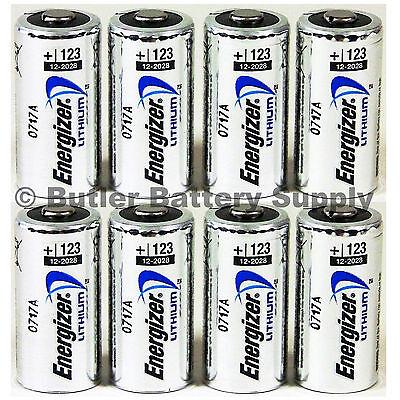 8 X Cr123 Energizer 3V Lithium Batteries  Cr123a  Dl123  123  El123  Cr17345