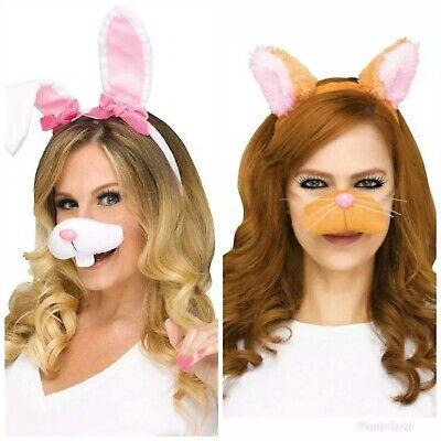 Kitten Nose Halloween (White & Pink Bunny Rabbit or Tan Kitty Selfie Kit 2pc Ears & Nose Halloween)