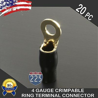 "20x 4 Gauge Gold Ring Terminals AWG Wire Crimp Cable Black Boots- 5/16"" Stud US"