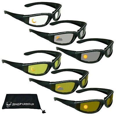 Damen Motorrad Transition Photochrom Brille Strass Tag Nacht Sonnenbrille