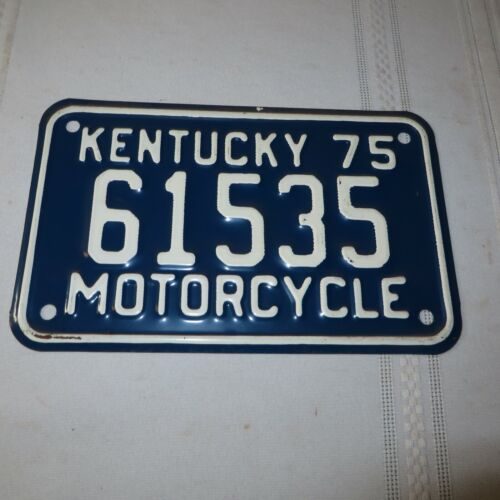 1975 KENTUCKY MOTORCYCLE LICENSE PLATE 61535