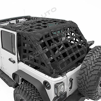 Off Road 4 Door Black Cargo Net System Restraint Net fit 07-18 Jeep Wrangler JK