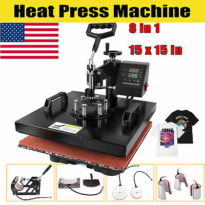 8in1 Combo Heat Press Machine 15x15 Sublimation Transfer T-shirt Mug Plate Hat