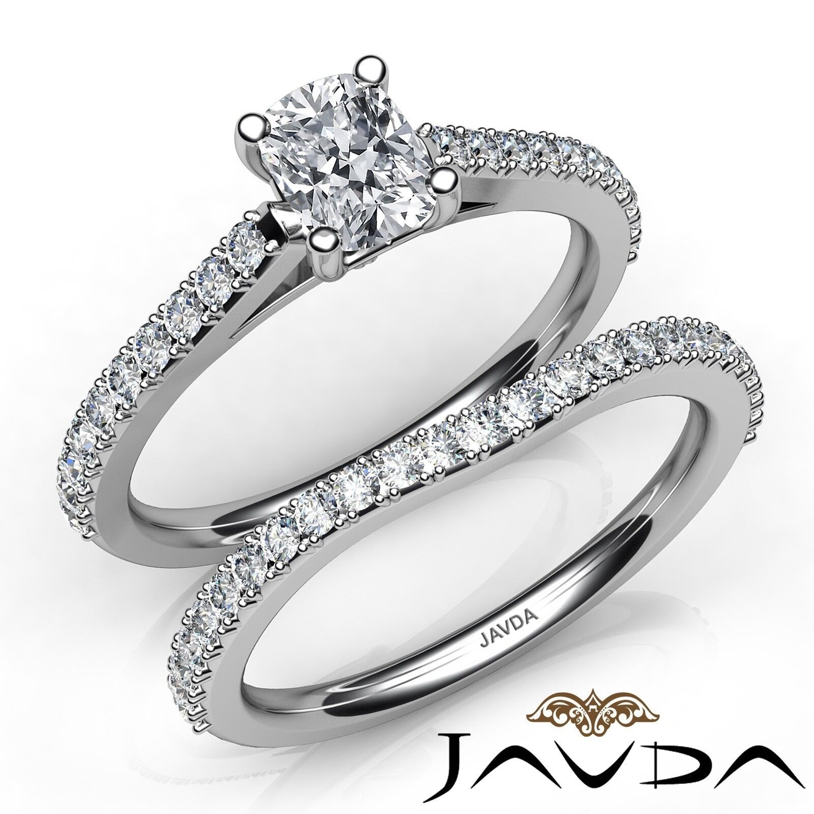1.62ctw Double Prong Set Bridal Cushion Diamond Engagement Ring GIA H-VS2 W Gold