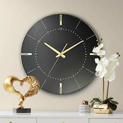 Liyana Black and Gold 17 3/4 Round Wall Clock