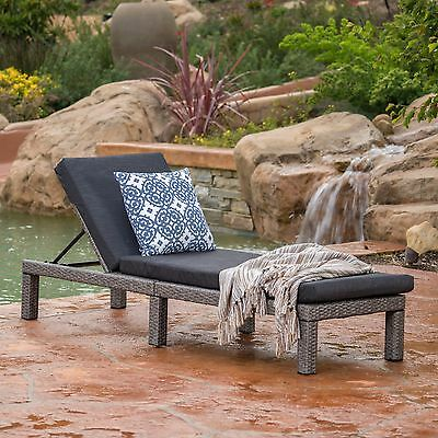Outdoor Gray Wicker Adjustable Chaise Lounge Chair w/ Cushion
