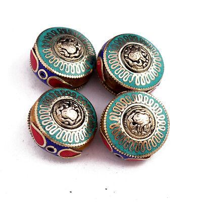 Turquoise Coral Lapis Brass 4 Beads Tibetan Nepalese Handmade Nepal UB2541