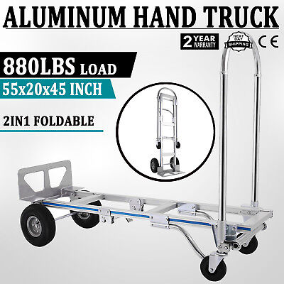 - 2in1 Aluminum Hand Truck Convertible Folding Dolly Platform Cart 880LBS Capacity