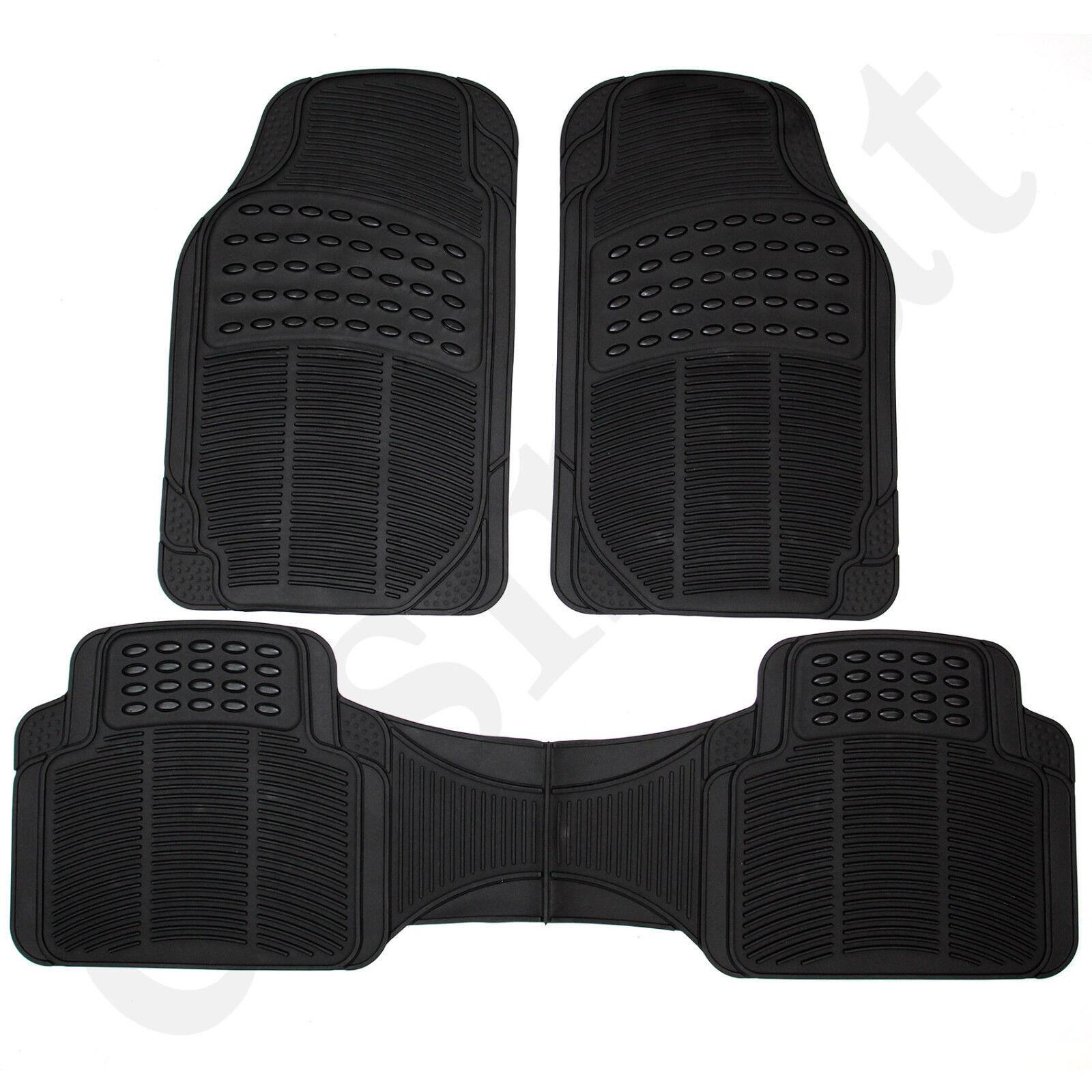Car Parts - Universal Car Van Mats Heavy Duty Rubber Floor Mat Set Black Non Slip 3pc