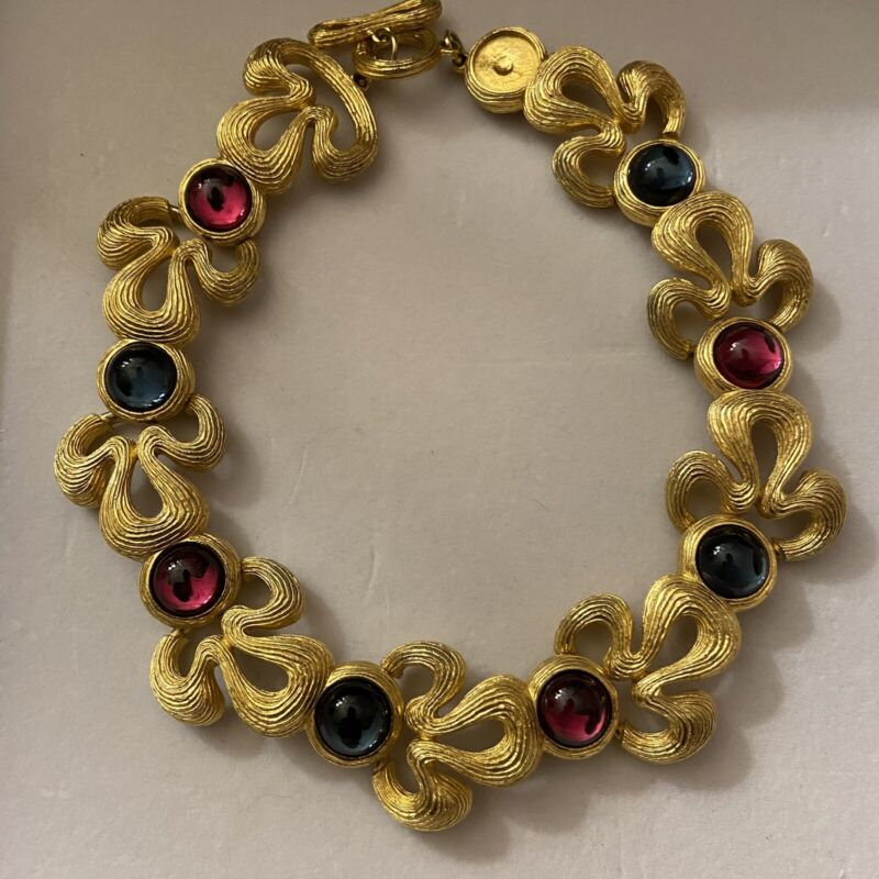 Vintage Rare Runway Gold Givenchy Couture Cabochon Gripoix Statement Necklace