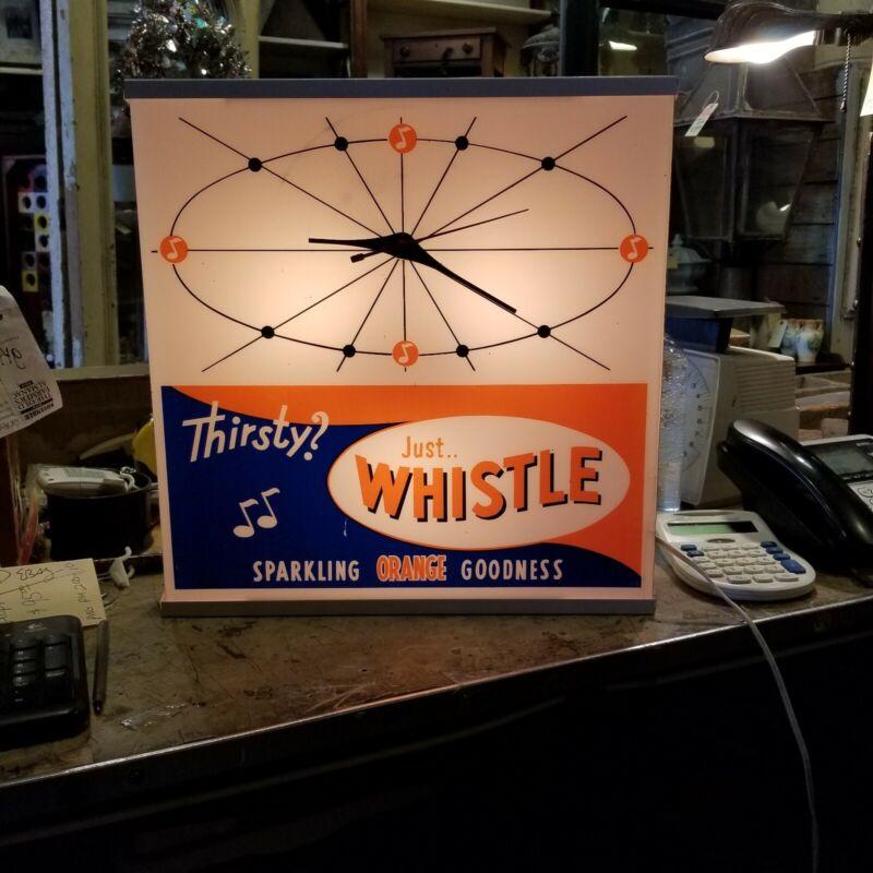 Vintage Whistle Orange Soda Pop Clock Lights And Runs- Store, Gas Station