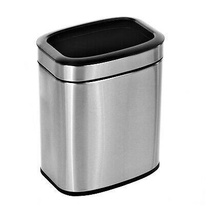 Alpine Industries 2.6 Gal. Stainless Steel Office Commercial Open Top Trash Can
