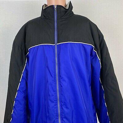 Adidas Team Color Block Parka Jacket Vtg 90s Waterproof Blue Black Size XL Tall  Colorblock-parka