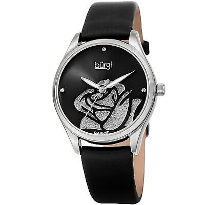 Women's Burgi BUR189SSBK Diamond Black Sparkle Rose Satin ON Leather Strap Watch