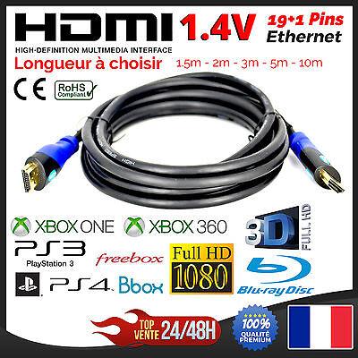 Cable HDMI 1.4V Ethernet PS3 PS4 XBox HD TV 3D 1080P 1.5m 2m 3m 5m 10m 15m 20m