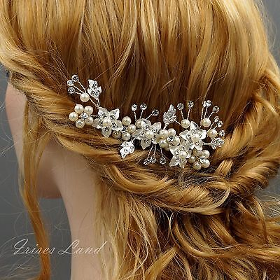Bridal Hair Comb Pearl Crystal Headpiece Hair Clip Wedding Accessories 00412 S