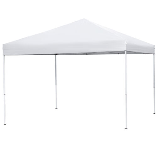 10 x 10 ft Pop Up Foldable Canopy Tent PreAssembled Lightweight Waterproof White Garden Structures & Shade