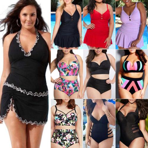 Übergröße Damen Bikini Monokini Tankini Push Up Bademode Bandeanzug Schwimmanzug