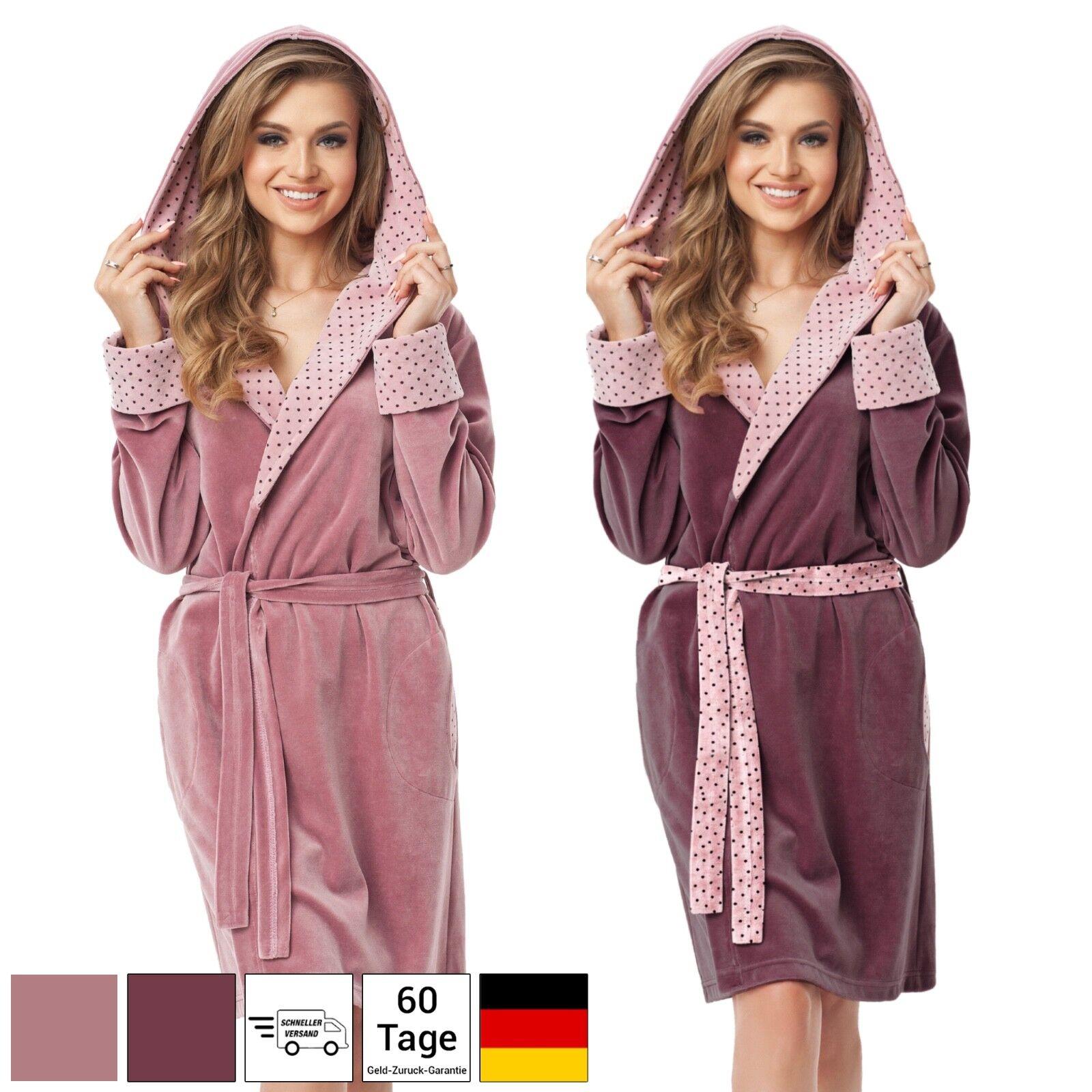 Bademantel mit Kapuze Damen Saunamantel für Frauen Baumwolle Morgenmantel S - XL