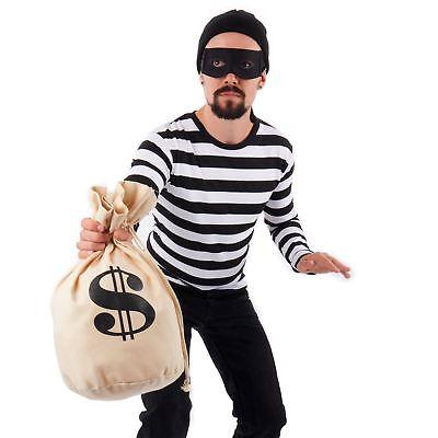 Adult Burglar Bank Robber Halloween Costume Kit Striped Shirt Eyemask Loot - Bank Robber Halloween