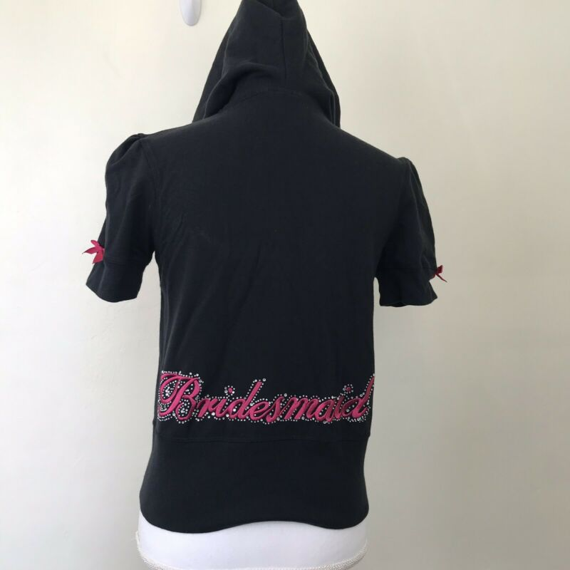 Victorias Secret Sexy Little Bride Bridesmaid Black Zip Up Hoodie Rhinestone M