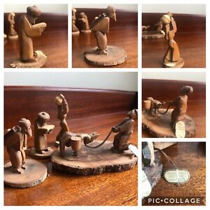 Rare Arieh Klein Olive Wood Sculptures from Holy Land Jerusalem