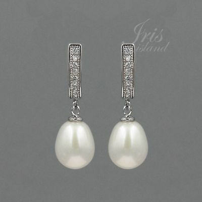 White Pearl Freshwater CZ 925 Sterling Silver Leverback Drop Dangle Earrings 900 Pearl 925 Sterling Silver Drop
