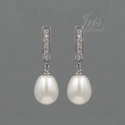 - White Pearl Freshwater CZ 925 Sterling Silver Leverback Drop Dangle Earrings 900