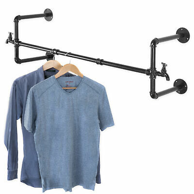 Mygift Wall-mounted Black Metal Pipe Faucet Design 39-inch Garment Hanging Bar