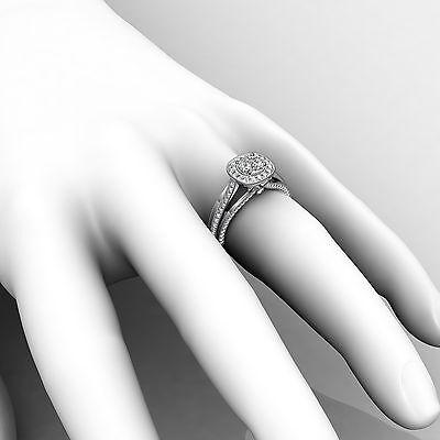 Milgrain Halo Pave Bezel Set Round Cut Diamond Engagement Ring GIA D VVS1 1.40Ct 4