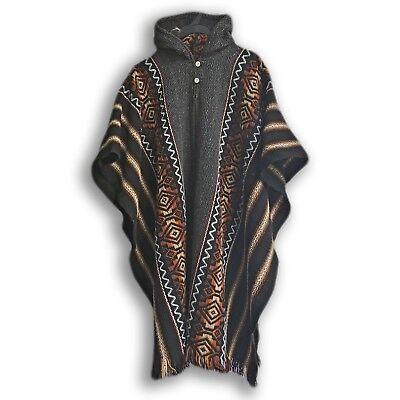 Llama Wool Mens Unisex South American Poncho Cape Coat Jacket striped