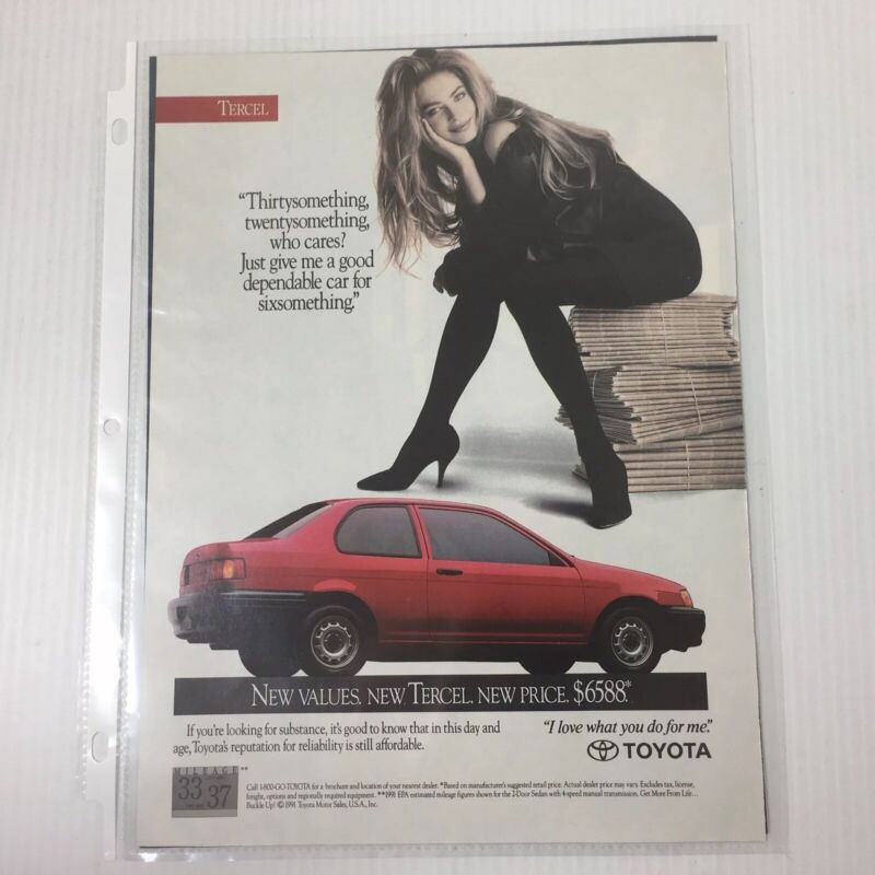 Vintage Print Ad 1991 Toyota Tercel Red Car Automobile Advertisement