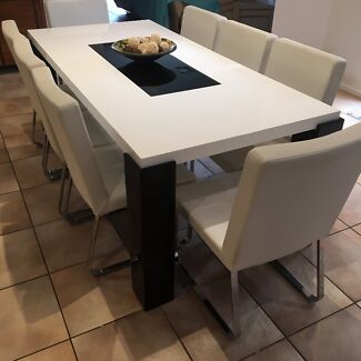 Long Dining table and 8 chairs