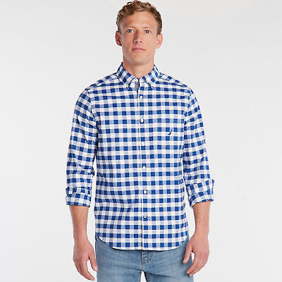 Nautica Mens Classic Fit Oxford Shirt In Large Gingham